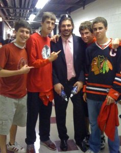 When Sneaking In isn't enough. Some buddies and I in the locker room after the Blackhawks won the 2010 Western Conference Finals
