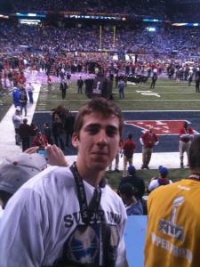 Front Row at SBXLVI for the start of celebration. All I paid for was the shirt on my back.