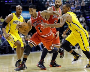Derrick Rose, George Hill, David West