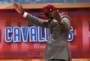 Anthony Bennett from UNLV reacts after being selected by the Clevland Cavaliers as the first overall pick in the 2013 NBA Draft in Brooklyn