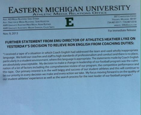 The statement issued by the EMU Athletic Department in regards to the firing of Ron English