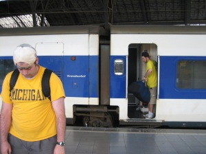 Sad Michael coming off the Sad Train at the Sad Station