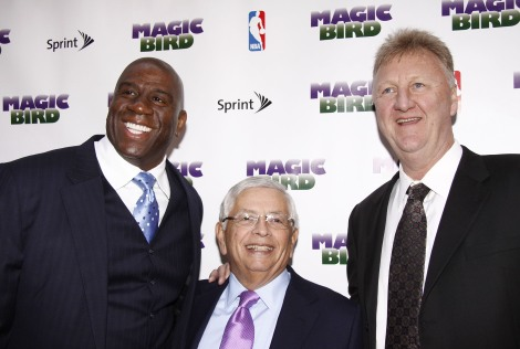 Earvin Magic Johnson, David Stern and Larry Bird